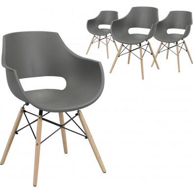 Lot de 4 Chaises de salle à manger  Gris Scandinave en bois massif et polypropylène  L. 57 x P. 62 x H. 81 cm  collection Katerberg