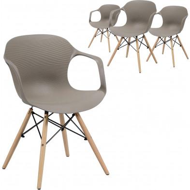 Lot de 4 Chaises de salle à manger Marron Scandinave en bois massif chêne et polypropylène L. 55 x P. 52 x H. 76 cm collection Longfellow