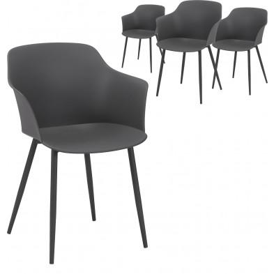 Lot de 4 Chaises de salle à manger Gris Design en acier et propylène  L. 59 x P. 51 x H. 82 cm  collection Bonn