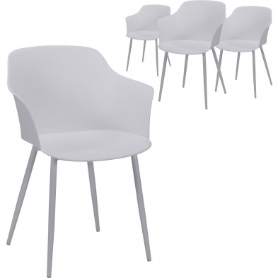 Lot de 4 Chaises de salle à manger Blanc Design en polypropylène avec piètement en acier L. 59 x P. 51 x H. 82 cm  collection Bonn