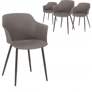 Lot de 4 Chaises de salle à manger  Marron Design en polypropylène avec piètement en acier L. 59 x P. 51 x H. 82 cm collection Bonn