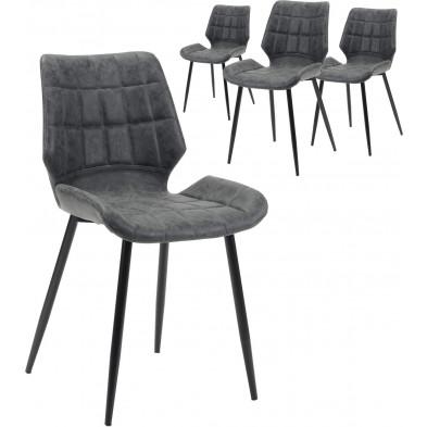 Lot de 4 Chaise design Gris Vintage  en pu avec piètement en acier L. 45 x P. 53 x H. 83 cm collection Pate
