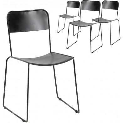 Lot de 4 Chaise design Argenté Industriel en Acier inoxydable L. 56 x P. 50 x H. 85 cm collection Overconfident