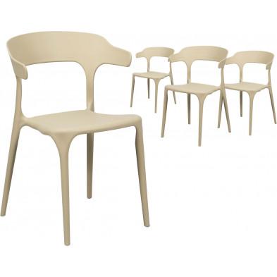 Lot de 4 Chaises de cuisine Beige Design en Polyuréthane L. 52 x P. 52,5 x H. 77 cm collection Merlyn