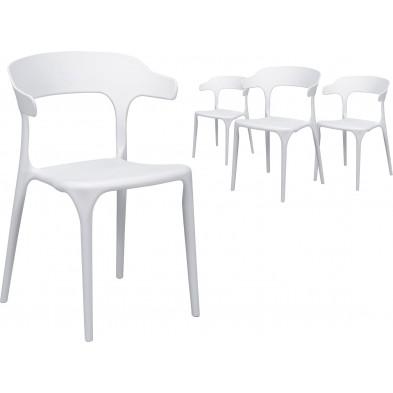 Lot de 4 Chaises  moderne Blanc Design en Polyuréthane L. 52 x P. 52,5 x H. 77 cm collection Merlyn