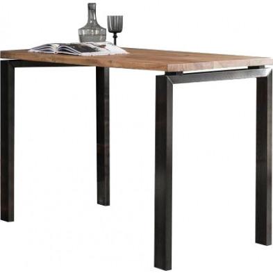 Table de bar marron contemporain en bois massif et acier  L. 140 x P. 70 x H. 92 cm  collection Livengood