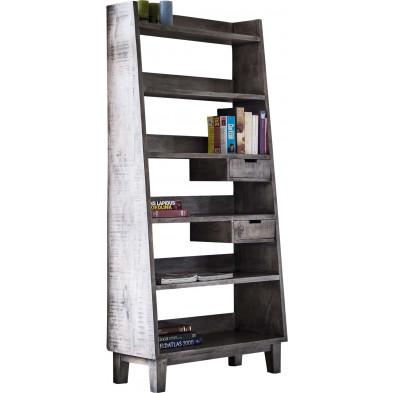 Bibliothèque gris industriel en bois massif  L. 90 x P. 40 x H. 190 cm collection Tavernola