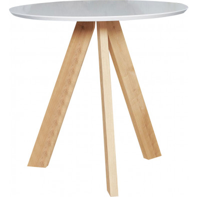 Table de bar beige scandinave en bois massif chêne  L. 100 x P. 100 x H. 93 cm collection Haylee