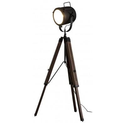 Lampadaire noir vintage en acier et bois massif   L. 67 x P. 67 x H. 135 cm collection Sarnado