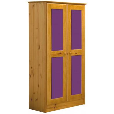 Armoire contemporaine violet en bois massif pin L. 54 x H. 196 cm collection Genoveffa