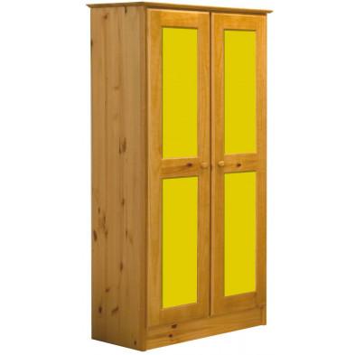 Armoire jaune contemporaine en bois massif pin L. 54 x H. 196 cm collection Genoveffa