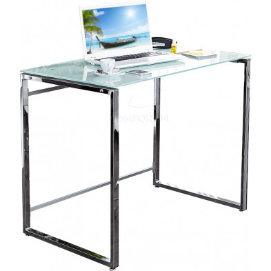 Bureau Design rectangle en verre trempé et métal L. 90 x P. 60 x H. 76 cm collection Stir