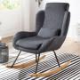 Fauteuil relax gris scandinave en pu L. 75 x P. 85.5 x H. 110 cm collection Vandervelden