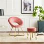 Chaise salle à manger design revêtement en velours taupe avec piètement en acier doré collection BARCLAY L. 49 x P. 50 x H. 84 cm