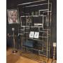 Bibliothèque design en acier et verre  coloris argenté  L. 100 x P. 40 x H. 180 cm collection MODENA